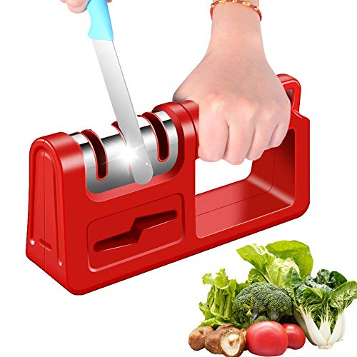 EXGOX Knife Sharpener,4 in 1Kitchen Knife Sharpening Manual Knife Sharpener Tool for Sharpening Knives,Scissors,Wide Handle,Non-Slip Base,Diamond rods,Suitable for Chef and Home Use(Red)