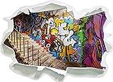 Coloured Streetart Graffiti, Papier 3D-Wandsticker Format: 92x67 cm Wanddekoration 3D-Wandaufkleber Wandtattoo