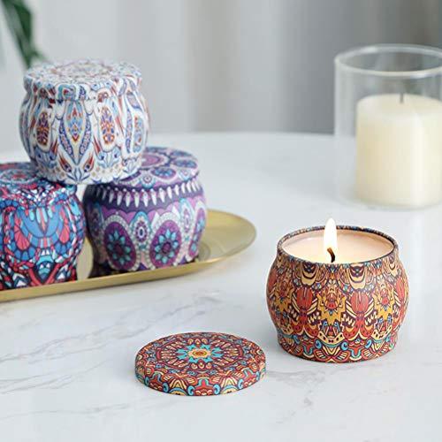 Kagodri Velas aromáticas de aceite vegetal, 4 velas de cera de soja natural, limón, rosa, lavanda y vainilla, se pueden utilizar para la limpieza del aire y la relajación del aroma