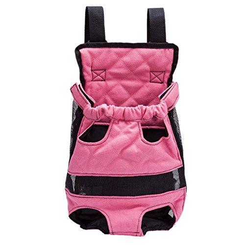Vorne Pack Rucksack Leinentaschen Träger für Katze Hund Welpen Kopf Beine Schwanz Tragbar und Sicher (L-Empfehlen Hund Gewicht: unter 5,5 kg, Rot)