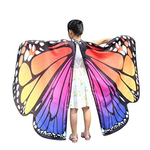 manadlian Kind Kleine Schmetterlingsflügel Schal Schals Nymphe Pixie Poncho Kostüm Zubehörteil (Freie Größe, Rosa)