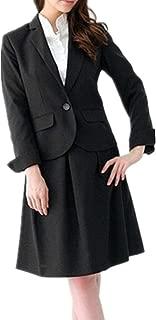 スカートスーツ フォーマルスーツ レディース 洗える ビジネススーツ 2点セット(テーラードジャケット + セミフレアスカート)合皮ベルト付き 事務服 体型カバー