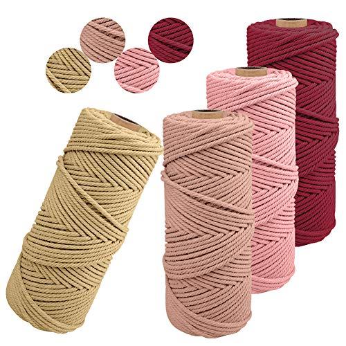 JeogYong Lot de 4 Corde Macramé 2mm x 100m Ficelle Naturelle Fil Macrame Coton Cordon Bricolage Cordelettes pour Tentures Murales, Suspension Plante, Décorations D'intérieur, Art Floral Creatif (F)
