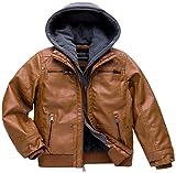 Boy Faux Leather Jacket Motorcycle Jacket Winter Jacket Windproof Aviator Jacket Raincoat Brown 14/16