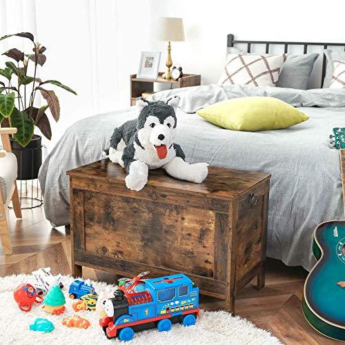 HOOBRO Spielzeugkiste, Sitzbank mit großer Stauraum, Vintage Schuhbank, Betttruhe, Flur, Schlafzimmer, Wohnzimmer, Holz, einfach zu montieren, Dunkelbraun EBF75CW01 - 4
