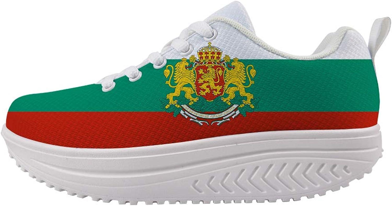 Owaheson Swing Platform Toning Fitness Casual Walking shoes Wedge Sneaker Women Bulgaria Flag National Emblem