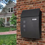 Post Boxes Wall Mounted Lockable Black Post Box Mail Boxes (Anthracitegrey)