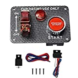 12V Race Car Ignition Switch Panel with Engine Start Push Button Carbon Fiber LED Toggle Switches for Racing Car RV Truck