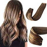 Sew in Human Hair Extensions for White Women Double Weft Natural Weave Bundles Seamless Ombre Balayage Medium Brown with Honey Blonde Highlights Virgin Human Hair Extensions 100G 18 Inch