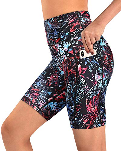 """Promover Non See-Through Yoga Shorts with Pockets Spandex Biker Shorts for Women High Waist Running Athletic Workout Short Leggings 8"""" Inseam (Neon Lotus,M)"""
