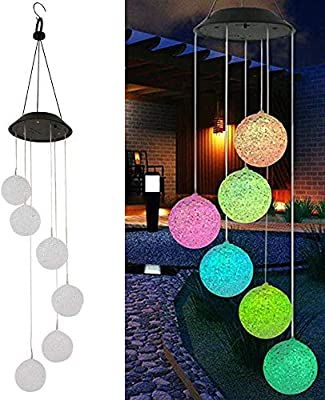 Solar Wind Chime, Waterproof IP65 Solar LED Mobile Wind Chime Light, Solar Light Wind Chime Decoration Lamp Suitable for Home & Birthday Party & Garden Decoration Solar Pendant Lamp (Ball)