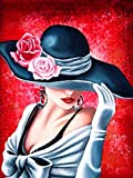 CJWLH Kit de pintura de diamantes 5D DIY Retrato de mujer de diamantes de imitación de cristal bordado de punto de cruz lienzo manualidades para decoración de pared 30x40cm