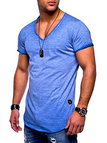 Rello & Reese Herren T-Shirt Kurzarm Basic Oversize V-Neck MT-7102 [Blau, XXL]