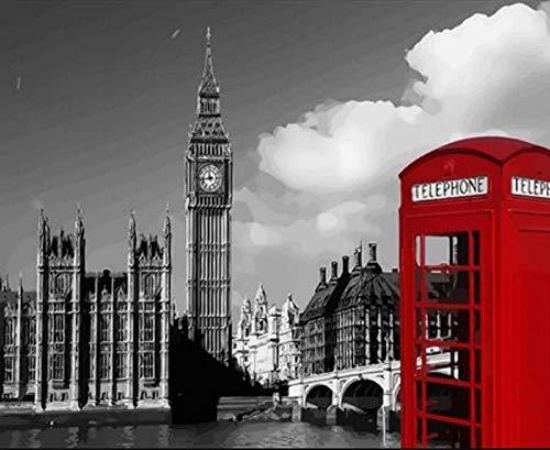 Pintura al óleo digital - Cabina de teléfono de Big Ben DIY Pintura al óleo adultos, niños y principiantes, usan pinturas y pinceles para artístico regalo - 40x50 cm (Sin Marco)