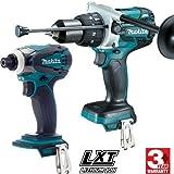 Makita DLX2130TJ2 - Kit combinato con mini smerigliatrice DGA504Z 125 mm + trapano a percussione DHP481Z 115Nm
