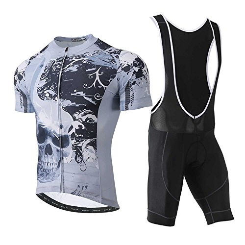 TeyxoCo 2018 Men Sugar Skull Soul Cycling Jersey Short Sleeve Padded Jersey Bid Set XXXL