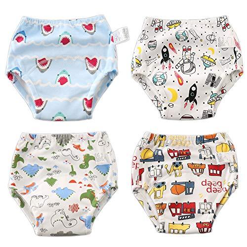 Haimoburg Haimoburg Wasserdicht Baby Lernwindel Trainerhosen Unterwäsche Windeln Windelhose zum Toilettentraining Töpfchentraining 5-24 Monaten (4er Jungen)