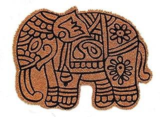 Cranberry Mats Designer Natural Coir Non Slip Doormat for Patio, Front Door, All Weather Exterior Doors – 18X24 Inch/45X60 cm – Animal Bird Elephant Cut Mat