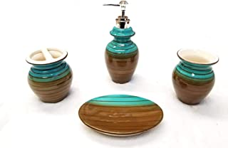 Empire Home Two-Tone 4-Piece Bathroom Accessory Ceramic Set - Lotion Dispenser/Tumbler / Toothbrush Holder/Soap Dish (Brown & Blue)
