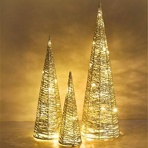 Luxspire LED Pyramide Kegelform Lichte, 3 Stück Advent Deko Leuchte Kleine Pailletten Eisendraht Laterne mit Timer Weihnachtslicht für Hause Weihnachten Dekoration Innen Außen Beleuchtung, Gold