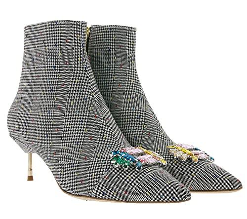 Kurt Geiger Bellevue Stiefeletten ausgefallene Damen Stiefel Hahnentritt Business-Schuhe Ausgeh-Stiefelette Schwarz/Weiß, Größe:38
