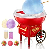 AICOOK Machine à Barbe à Papa, 500W Cotton Candy Maker Appareil pour Maison, Fêtes, Festivals ,Fete Foraine et Anniversaire, Design Vintage Rouge, 10 Bâtonnets De Barbe À Papa Et Cuillère Doseuse
