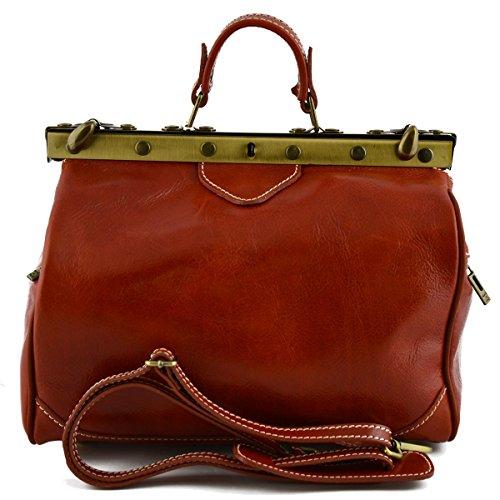 Dream Leather Bags Made in Italy toskanische echte Ledertaschen Leder Arzttasche, 2 Seitentaschen Farbe Orange - Italienische Lederwaren - Aktentasche