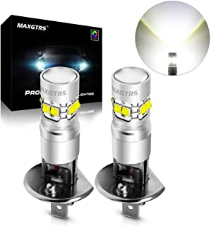 MAXGTRS 50W H1 CREE Chip LED Fog Light Bulbs with Condenser Lens - High Power 6000K Xenon White LED Fog Lamp