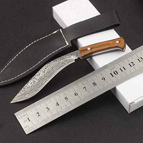 Mini Kukri Machete mit Scheide Feststehendes Messer Camping Werkzeug Gerades Messer Outdoor Jagdmesser Holzgriff