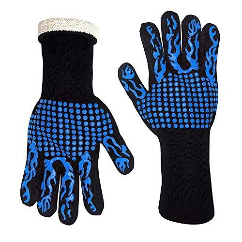 OOFAY Grillhandschuhe, Palmen und Backs Have Silikon-Attachments, Wärmedämmung, Flammschutzmittel, Anti-Verbrühung der Haut, Hochtemperaturbeständige Dicke Handschuhe, Geeignet für Grill
