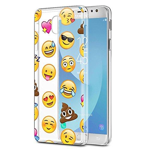 Eouine Funda Samsung Galaxy J5 2017, Cárcasa Silicona 3D Transparente con Dibujos Diseño Suave Gel TPU [Antigolpes] de Protector Bumper Case Cover Fundas para Movil Samsung Galaxy J5 2017 (Emoji)