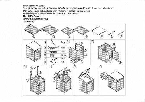 Habau Mülltonnenverkleidung Mülltonnenbox 120, Gelb, 65 x 75 x 115 cm - 6