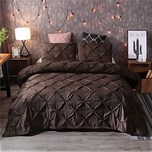 DXSX Bettwäsche Set Bettbezug Und Kissenbezug Luxus Dreidimensionale Prise Falten Seidenblume Reißverschluss Schließung Microfaser Bettwäsche-Set (Braun, 220 x 240 cm)