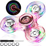 Nuanchu Fidget Hand Spinners, LED Light Up Rainbow Toy Stress Relief, Clear Fidget Boredom Killing Time Toys, ADHD Anxiety Reducer Spin Play Toy for Adults, Boys and Girls