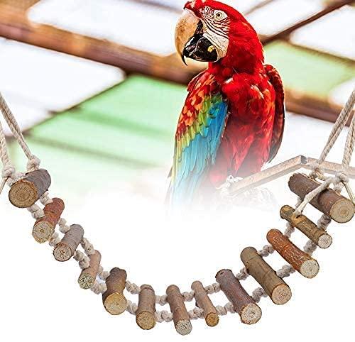 Esteopt Columpio para loros, juguete para pájaros, jaula de pájaros, accesorio para columpio de juguete, escalera de madera, juguete de entrenamiento para pájaros y loros