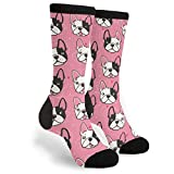 Pink French Bulldogs Crew Socks Athletic Socks