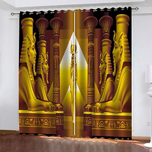 FYOIUI Cortina para Habitación Opaca Y Térmica Aislante, Reina del Antiguo Egipto Cortinas De Ojales Dormitorio Moderno Blackout Curtain Suave para Ventanas De Habitación,200X214Cm