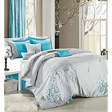 Perfect Home Sydney 12-piece Embroidered Comforter Set Queen Size Black and White, Bedskirt Shams and Decorative Pillows Included (King, Turquoise)