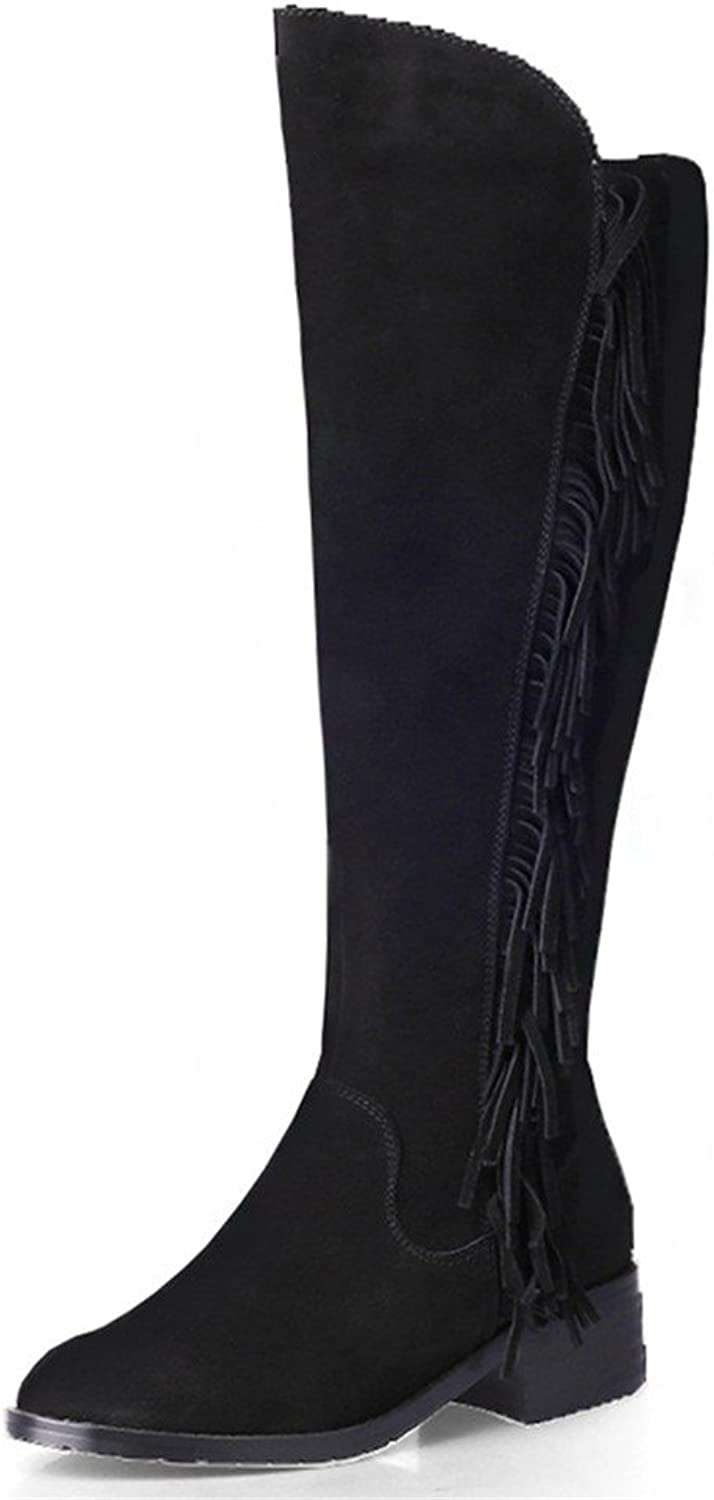 Nine Seven Suede Leather Women's Round Toe Chunky Heel Tassel Handmade Knee High Boot