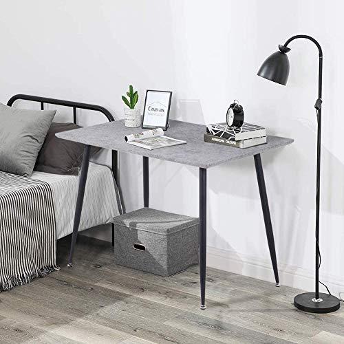 GOLDFAN Golddan Esstisch Rechteckig aus Holz im Retro-Design Füße aus Metall Schwarz für Wohnzimmer Esszimmer Büro Schlafzimmer, Grau