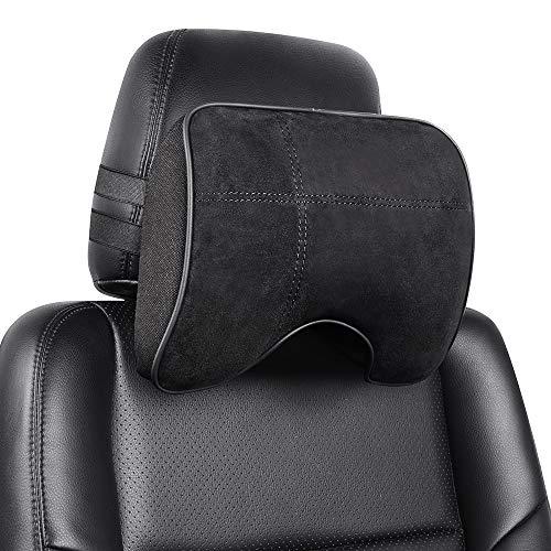 EASY EAGLE Auto Nackenkissen aus Wildleder und Memory-Schaum, Nackenkissen mit Abnehmbarem Befestigungsgurt für Autositz, Schwarz, 1 Stück