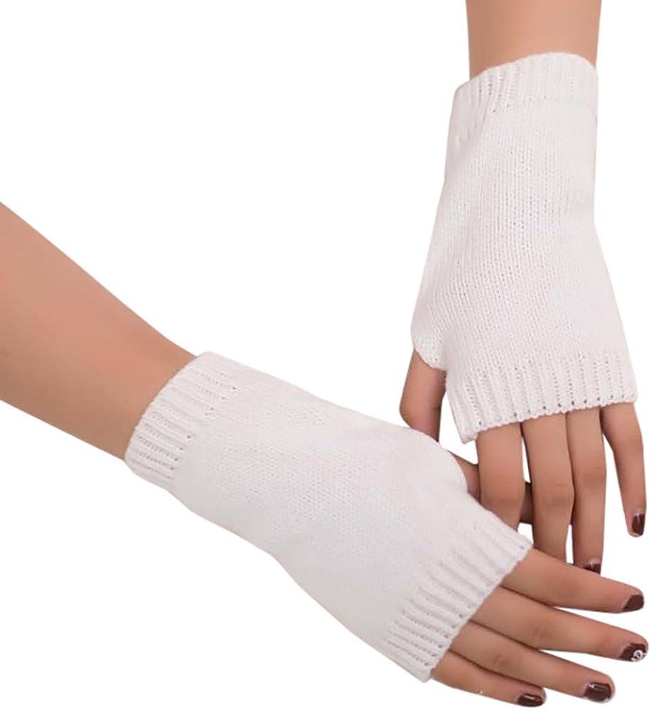 URIBAKE Women's Girl's Hand Warmer Solid Wool Knitted Fingerless Winter Wrist Warm Soft Gloves Mitten