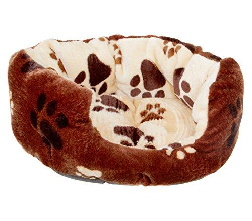 Dehner Hunde- und Katzenbett Pfote, ca. 55 x 45 x 20 cm, Acryl/Polyester, beige/braun
