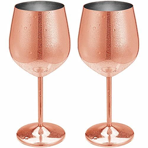 Juego de 2 elegantes copas de vino de cobre pulido con espejo de 500 ml de acero inoxidable irrompibles, copas de cóctel de metal, irrompibles, regalo perfecto para fiestas de camping (oro rosa)