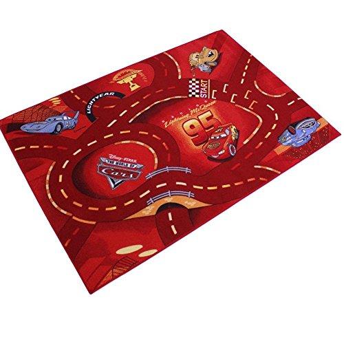 GUIZMAX Compatible avec Tapis Enfant Cars 133 x 95 cm Disney Red