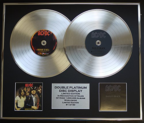 AC/DC/Zweifache Platin Schallplatte DISPLAY/Limitierte Edition/COA/HIGHWAY TO HELL & BACK IN BLACK