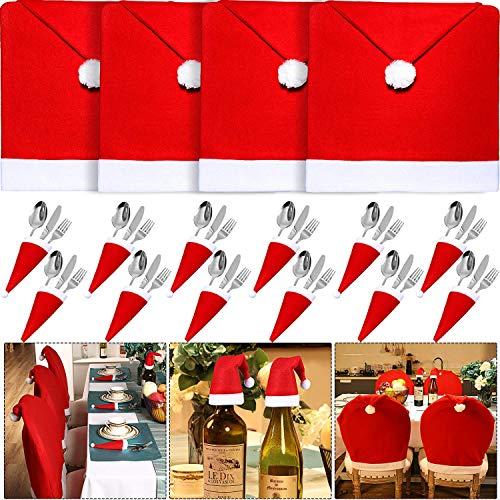 4 piezas de fundas para silla de Navidad con 12 piezas de Papá Noel sombreros de cuchillo tenedor de cubiertos para Navidad, hogar, cena, sillas de mesa, decoración de cocina, decoración de fiesta