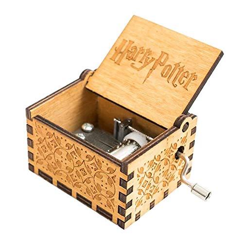 Caja de música de madera tallada con manivela de mano, con melodía, caja de música clásica hecha a mano, regalo de cumpleaños, Navidad, Año Nuevo para niños (tema Harry Potter, marrón A03)