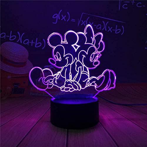 Mickey & amp minnie mouse 3D luz de noche USB lámpara de mesa LED luminoso colorido degradado táctil control remoto decoración creativa única juguete de cumpleaños regalo 3-9 + años niños y niñas