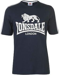 Lonsdale Mens Logo T Shirt Top Stripe Detail